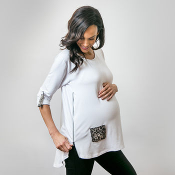 Maternity And Nursing Top White And Snake Print