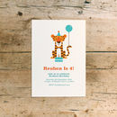 Tiger Tea Party Children's Birthday Invitations