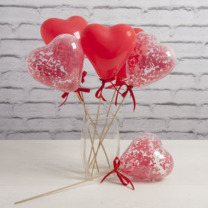 Red Confetti Mini Heart Balloon Wands - balloons