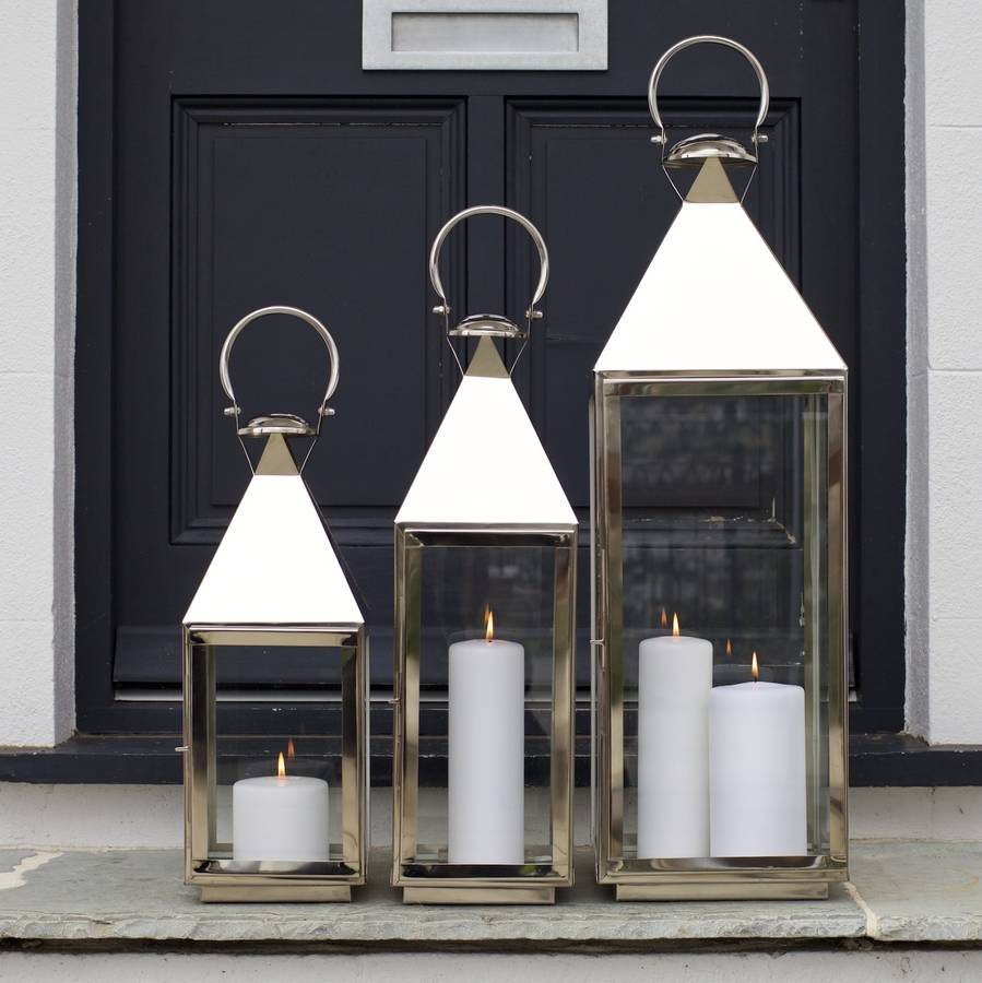 Tall Silver Candle Lantern By Za