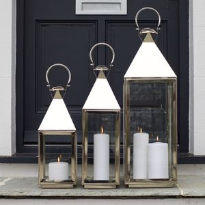 Tall Stainless Steel Candle Lantern - outdoor lights