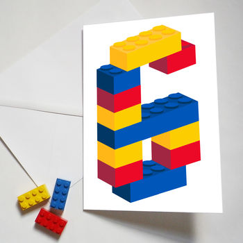 Personalised Building Block Age Card