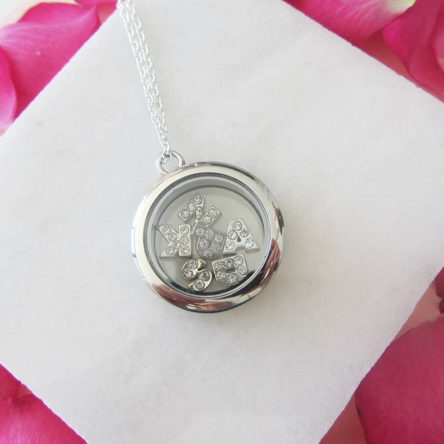 grandma memory mom personalized lockets floating steel products or necklace stainless for locket teardrop gift clear