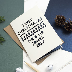 'Mr And Mr' First Christmas Personalised Card - christmas cards