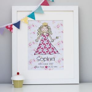 Princess Personalised Children's Print - pictures & prints for children