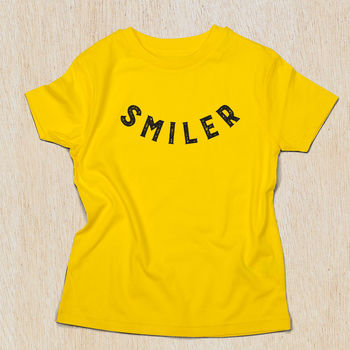 Smiler T Shirt In Yellow Organic Cotton
