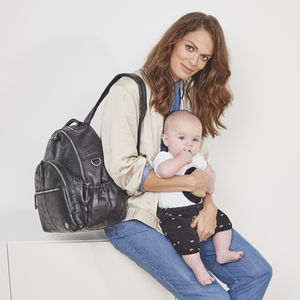 Personalised Joy Croc Leather Baby Changing Backpack