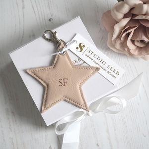Luxury Personalised Leather Star Keyring - gifts for her