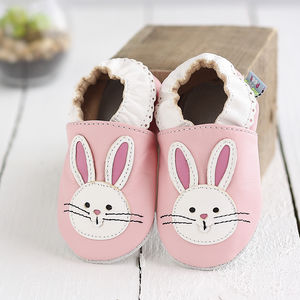 Pink Bunny Soft Leather Baby Shoes - clothing
