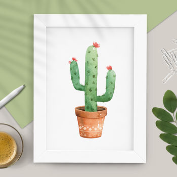 Potted Cactus Watercolour Print In Green Brown