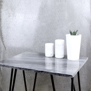 Black Marble Side Table With Hairpin Legs