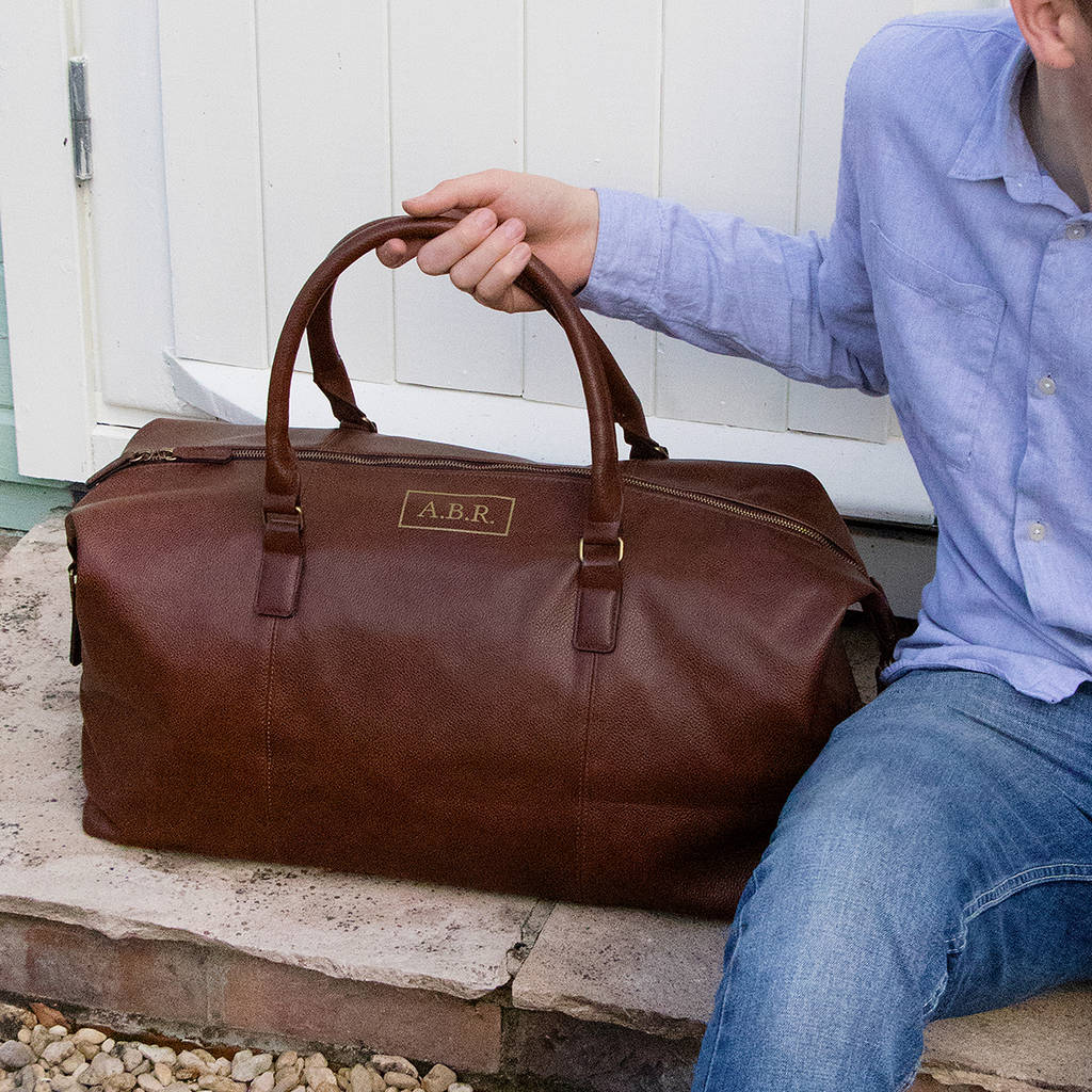 Personalised Vintage Brown Nuhide Holdall by Jonny's Sister