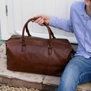 Personalised Vintage Brown Nuhide Holdall
