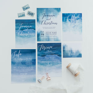 Moody Blue Wedding Invites - shoreline wedding trend