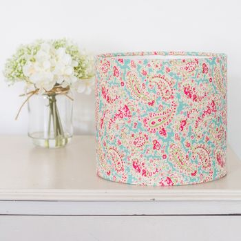 Vintage Paisley Linen Drum Lampshade