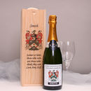 Personalised Champagne With Family Crest Label