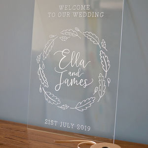 Personalised Perspex Wedding Welcome Sign - new in wedding styling