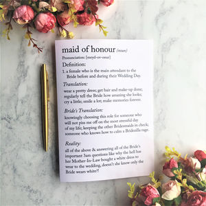 Funny Maid Of Honour Definitions A5 Card