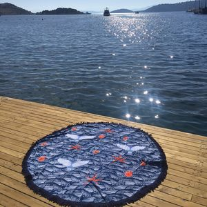 Orca Round Patterned Towel