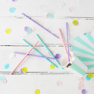 Colourful Spotty Pastel Party Straws