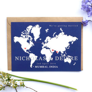 World Map Location Wedding Invitation