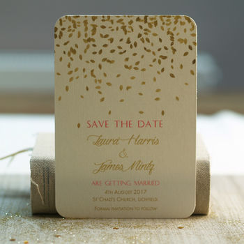 'Gold Leaves Design Save The Date Cards'