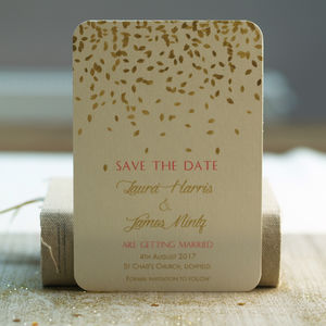 'Gold Leaves Design Save The Date Cards' - save the date cards