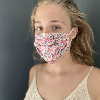 Liberty Print Cotton Face Mask And Optional Nose Strips