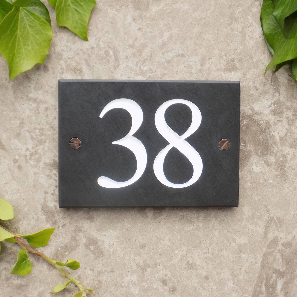 "Deeply cut Slate House Sign 12/"" X 4/"" Any Name and number"
