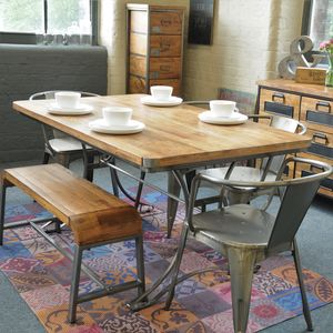 Large Reclaimed Steel And Wood Top Table - furniture