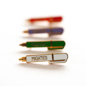 Mightier Pen Enamel Pin