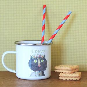 Cat Personalised Enamel Mug - new in garden