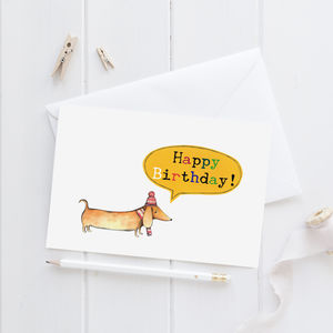 Happy Birthday Sausage Dog Greeting Card - birthday cards