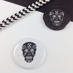 Halloween Day Of The Dead Skull Badge