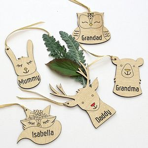 Five Personalised Woodland Animal Xmas Tags