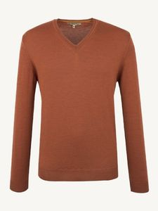 Men's Terracotta Merino Wool V Neck Sweater