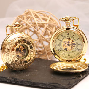 Roman Numeral Golden Pocket Watch - watches
