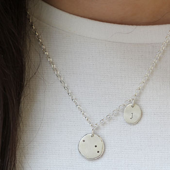 Personalised Constellation And Initial Charm Necklace