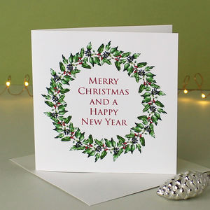Botanical Christmas Card ' Christmas Wreath ' - what's new