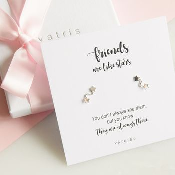 Friends Are Like Stars Silver Earring Gift Box