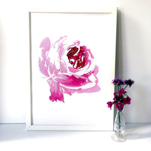 A Single Rose Floral Art Print, A3, A2 And A1 - nature & landscape