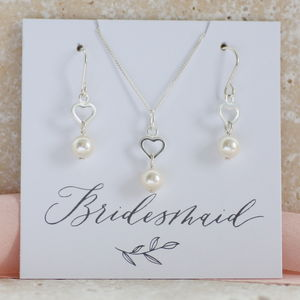 Bridesmaid Pearl Heart Jewellery Set - jewellery sets