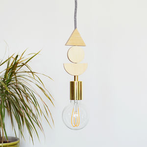Wood And Brass Shapes Pendant Light