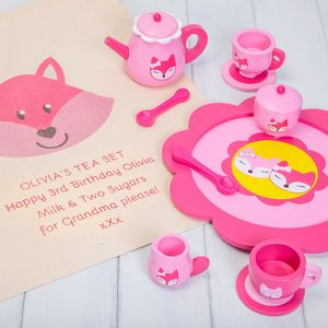 Personalised Pink Fox Tea Set - toys & games