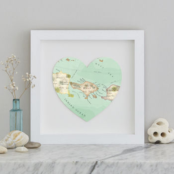 Personalised Location Bali Map Heart Print