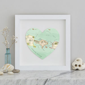 Personalised Location Bali Map Heart Print - personalised