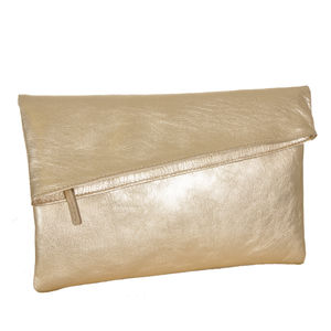 Gold Metalic Envelope Clutch - bags & purses
