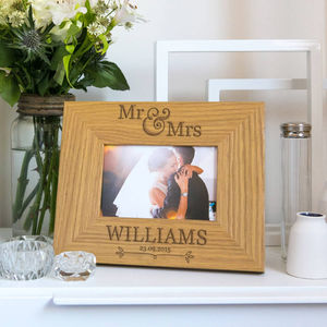 Mr And Mrs Personalised Wedding Photo Frame - 5th anniversary: wood