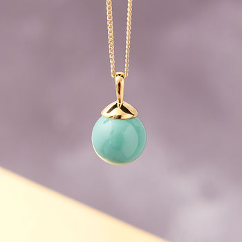 Gold Ball Necklace in Jade