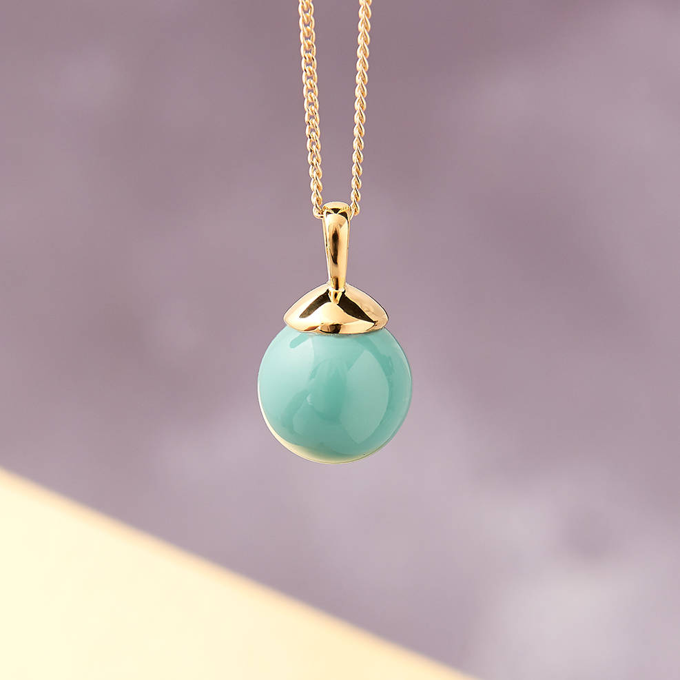 e0273a9b4a9e gold ball necklace in turquoise